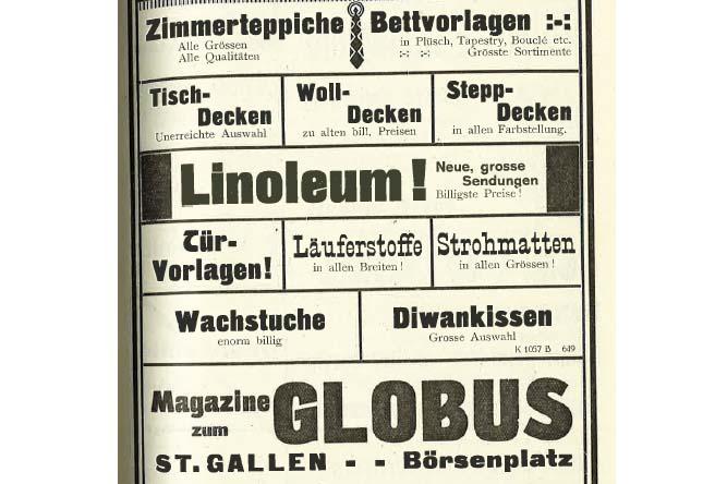 Anzeige des Warenhauses Globus St.Gallen
