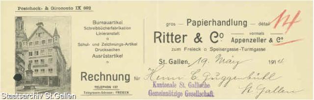 Briefkopf von 1914 der Papeterie Ritter & Co. in St.Gallen, wo die Schülerinnen Papier und Schreibwaren einkaufen gingen.