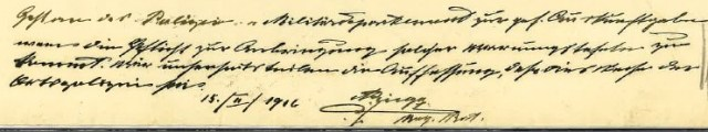 Handschriftliche Notiz von Regierungsrat Rüegg