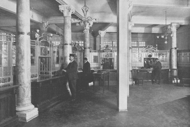 Filiale der Schweizerische Kreditanstalt zum Seidenhof in St.Gallen, zwisch 1909 und 1913