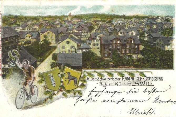 Postkarte zum Velorennen 1901