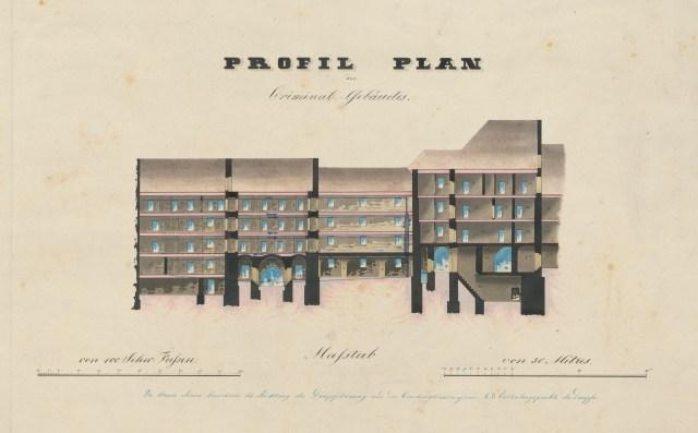 Kriminalgebaeude, Plan 1850-koloriert