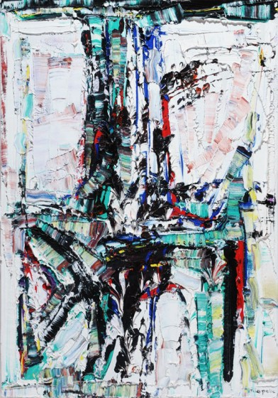 "Il a neigé sur Opinaca by Jean Paul Riopelle. Oil on canvas, 1967 36"" x 26"""