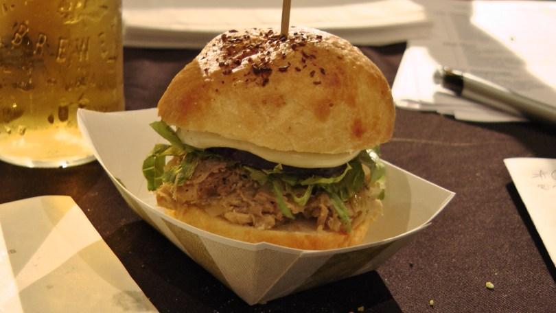 From Chez l'Épicier: A double burger of seasoned duck and foie gras with figs