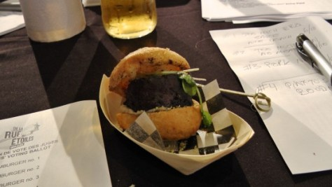 From Le grain de sel: A boudin mini-hamburger with banana chutney, aioli, chocolate and ancho chiles