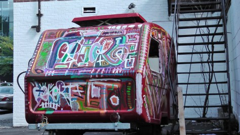 Another side of a hippy-dippy trailer that was parked beside Square Saint Louis.