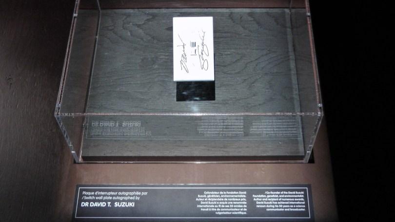 Light Switch Wall Plate autographed by David Suzuki