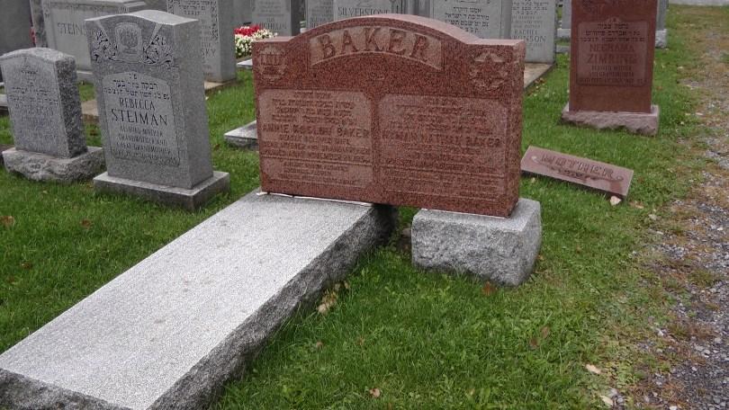 The Baker's monument at The Baron de Hirsch Cemetery