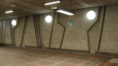 Inside metro de la Savane (view of the lights and the bas relief)
