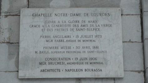Plaque on the Chapelle Notre-Dame-de-Lourdes de Montréal