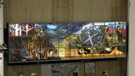 Stained-glass mural by Nicholas Sollogoub in the McGill Metro.