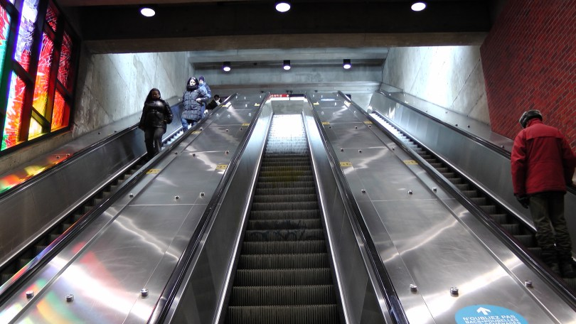 Looking up the other escalator at the Métro Charlevoix