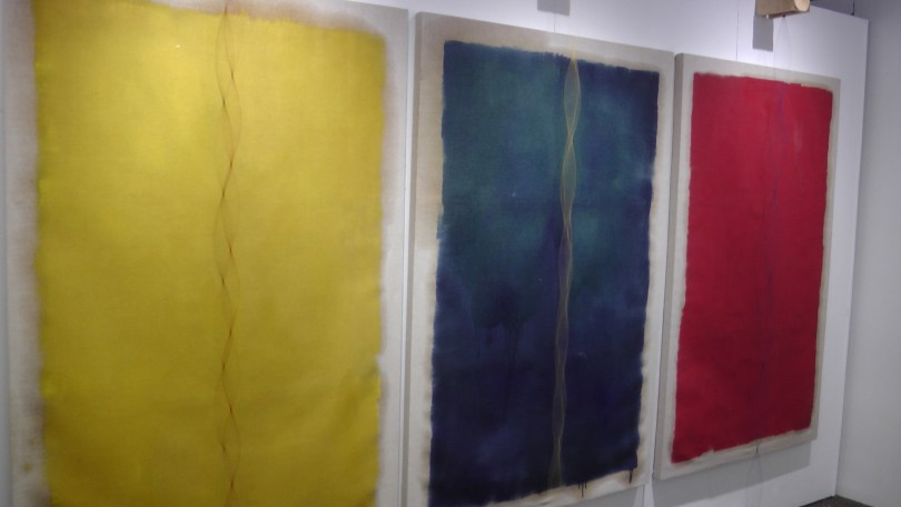 Mitchell F Chan, Wall of Deaf, oil on linen, elastic string, motors