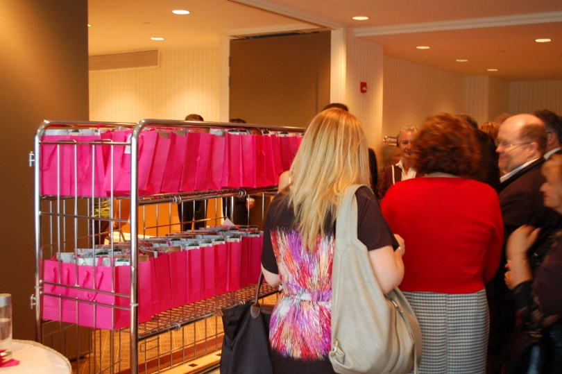 The goodie bags at the cocktail for the Table of Hope