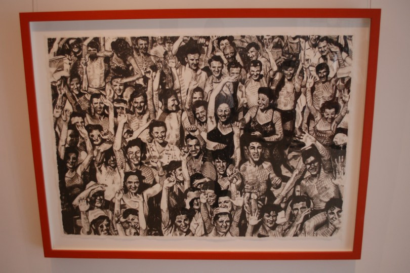 Bright Red frame, 5 tone, ink crosshatch on Japanese paper by Alain James Martin at Pink Espace