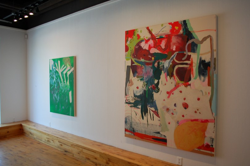 Installation view of Vrtlar by Mirana Zuger at the McClure Gallery, showing Fooling and Hibou.