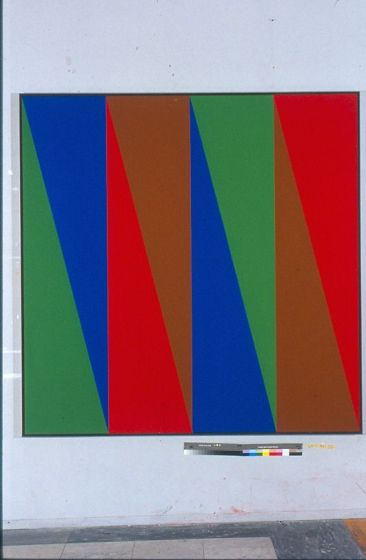 "Structure Triangulaire Vert-brun, Acrylic on Canvas, 78"" x 78"", 1971"