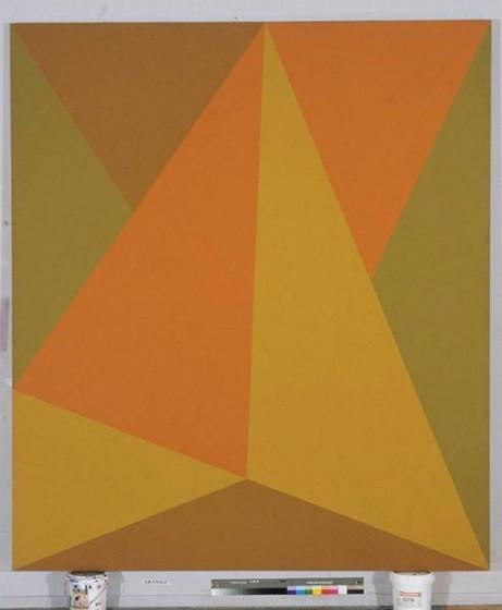 """Triangulaire Orange, Acrylic on Canvas, 98"""" x 86"""", 1974"""