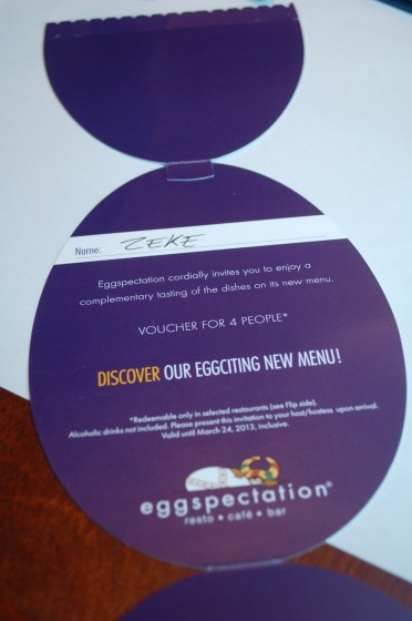 Signing the Eggspectations coupon before giving it up