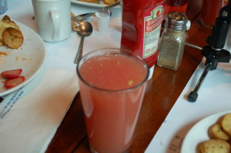 A glass of grapefruit juice at Eggspectations