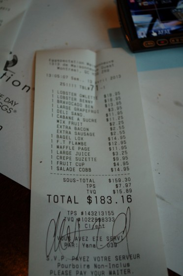 The bill at Eggspectations