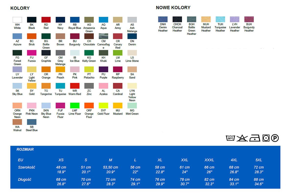 Koszukla T-shirt JHK - kolory i rozmiary