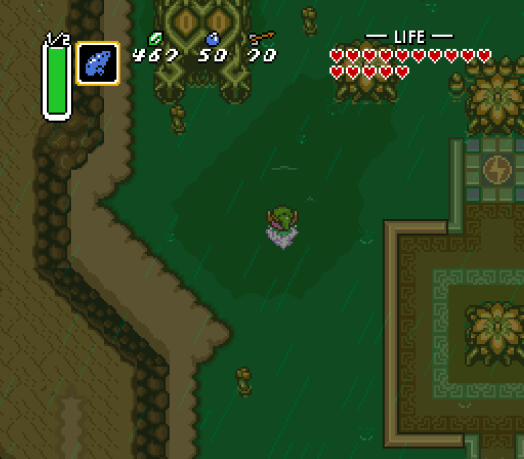 To the left of Misery Mire's dungeon is a small cave containing a Piece of Heart.