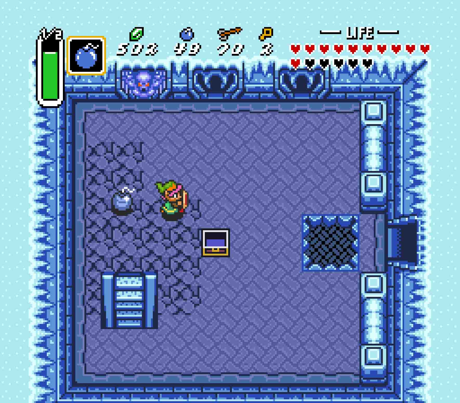 There's a secret route down to the Big Chest, and you need to bomb the floor here to make your way to it.