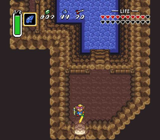 Step Two Once you enter the cave, take a few steps into it. Then, you must use the Pegasus Boots to dash out of the cave. If you do this correctly, you will see the screen jump down a few pixels as Link leaves.