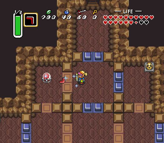 Step Three Defeat the Hokkubokku first, being wary of the close quarters, and then pass the Anti-fairy. Head all the way to the left, then up to the Crystal Switch, and then right one cell. Use the Boomerang to trigger the Crystal Swich once again.
