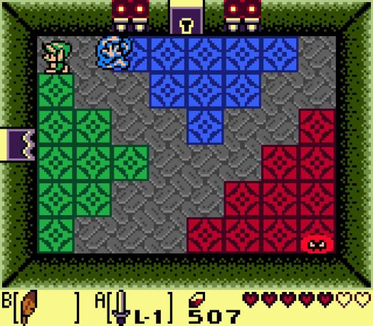 STEP FOUR The next room will offer the challenge of three Camo Goblins, green, blue, and red. Defeat all of them to give yourself some breathing room, and then unlock the door to the north to reach the first mini-boss.