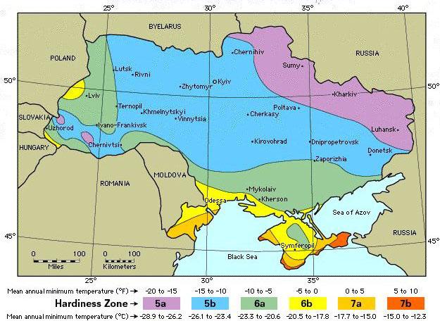 зона морозостійкості рослин карта