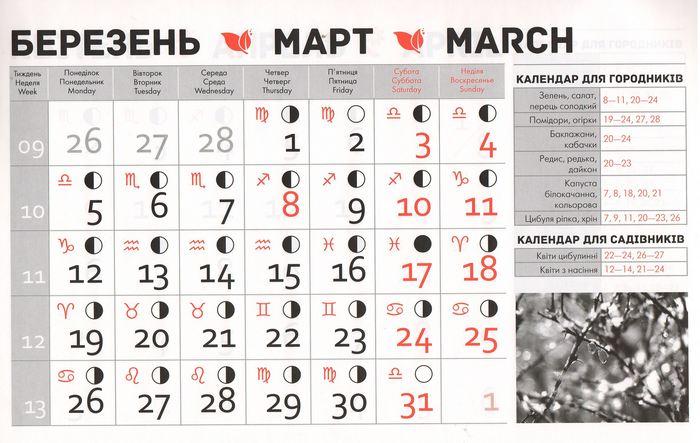 Посівний календар на березень 2018 року фото