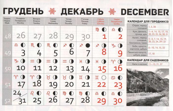 Посівний календар на грудень 2018 року фото