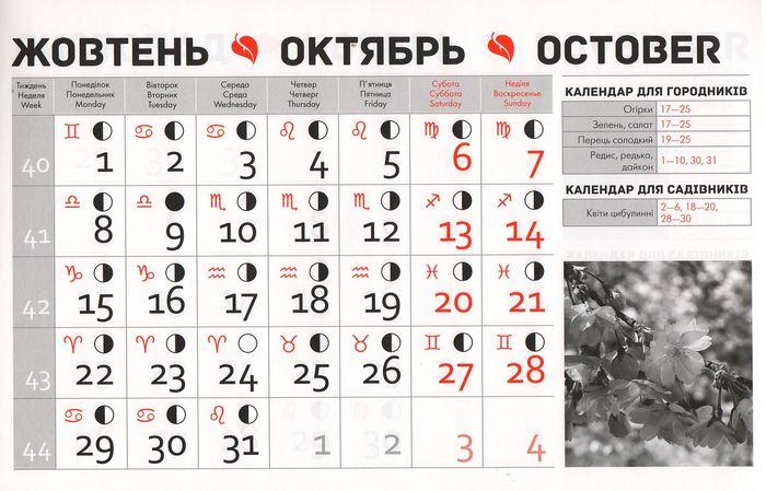Посівний календар на жовтень 2018 року фото