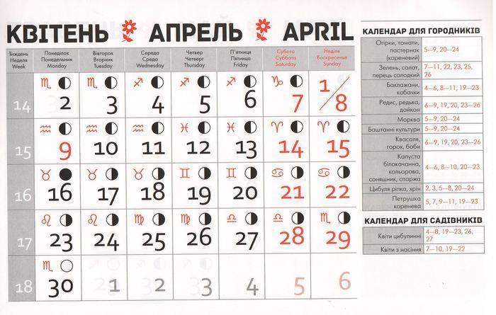 Посівний календар на квітень 2018 року фото