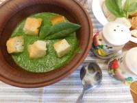 Суп-пюре зі шпинатом і стрілками часнику