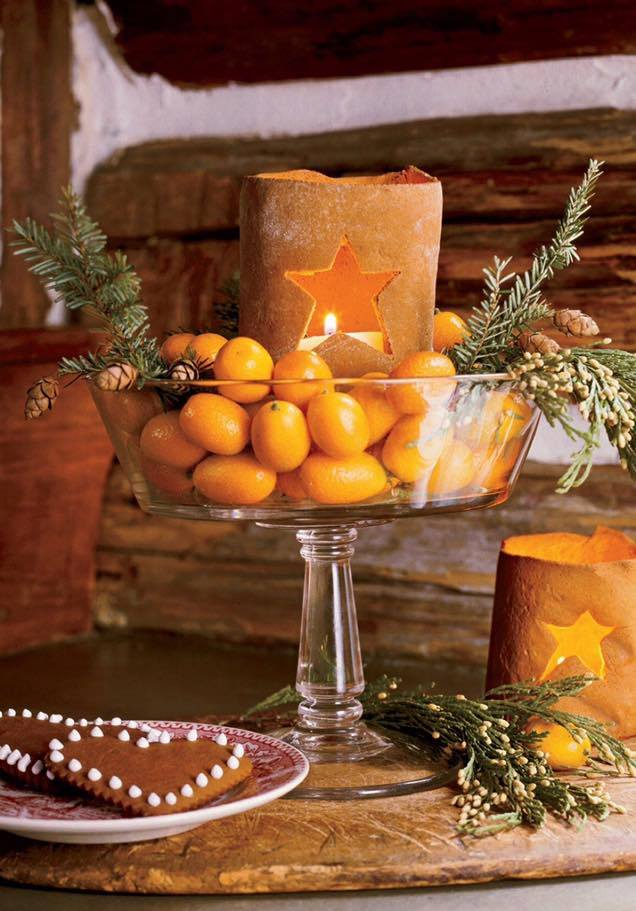Декор новорічного столу за допомогою цитрусових