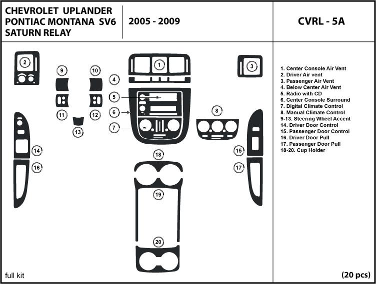 2005 2006 2007 2008 2009 Chevrolet Uplander Wood Dash Kit