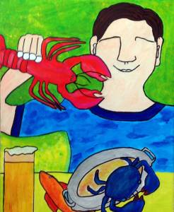Guy aiting lobster