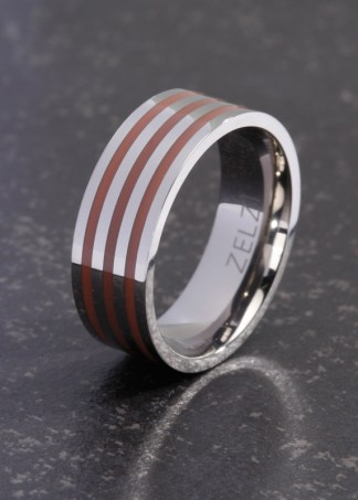 Xanthe titanium ring met rood bruine banden