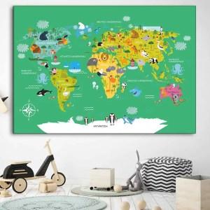 Vaikiškas žemelapis ant sienos žalias, vaikiški žemėlapiai,vaikiškas pasaulio žemėlapis vaikams.