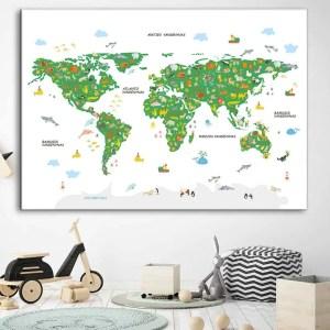 Vaikiškas žemelapis ant sienos baltas žalias, vaikiški žemėlapiai,vaikiškas pasaulio žemėlapis vaikams.
