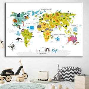 Vaikiškas žemelapis ant sienos baltai rudas, vaikiški žemėlapiai,vaikiškas pasaulio žemėlapis vaikams.