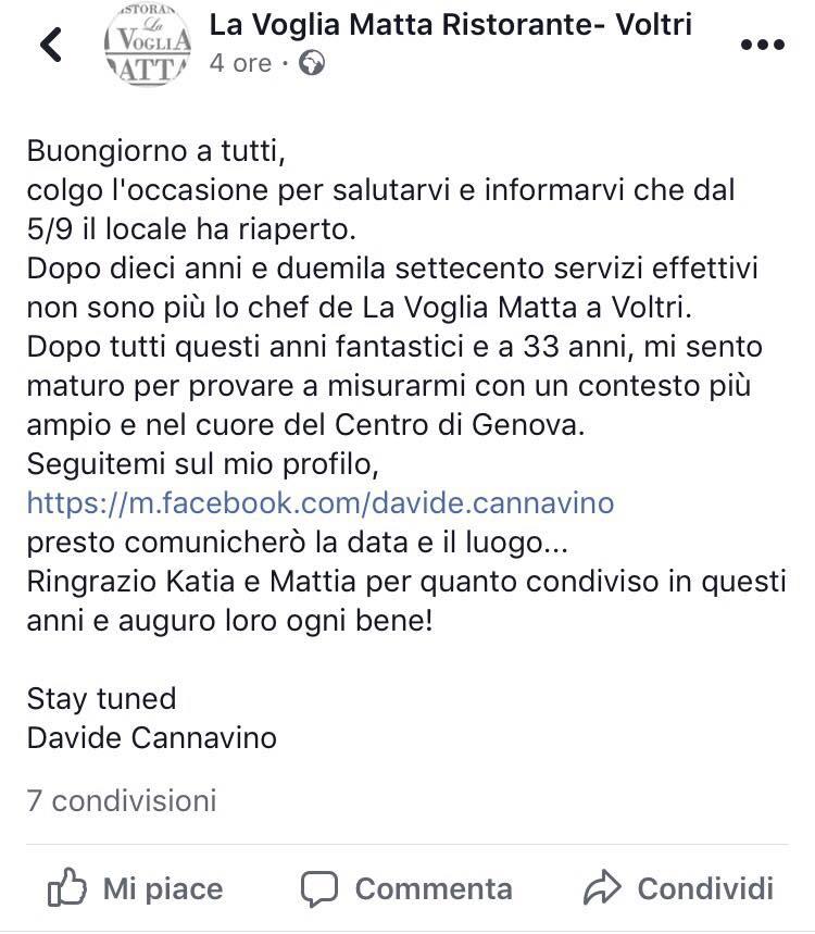 Davide Cannavino saluta La Voglia matta