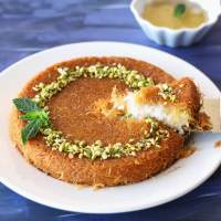 Vegan Kunafa (Knafeh) | Shredded Phyllo and Sweet Cheese Dessert