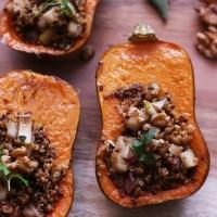 Stuffed Honeynut Squash with Quinoa & Pear Filling (Vegan, GF)