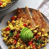 Super Flavorful Tofu Scramble with Spinach and Tomatoes