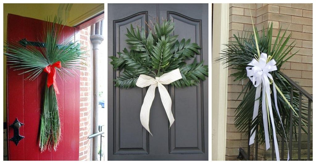 Cvjetnica u obitelji, palmine grane na vratima