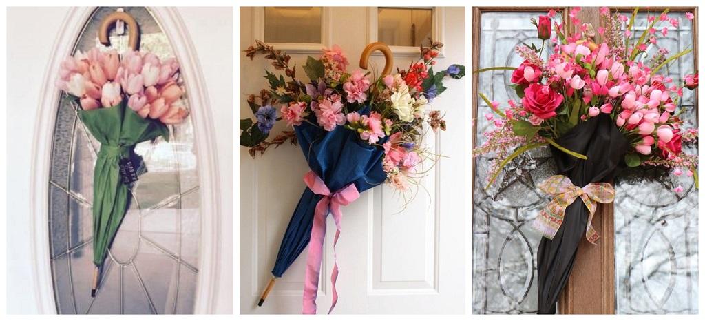 umjetno cvijeće na vratima u kišobranu